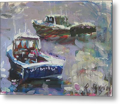 Metal Print featuring the painting Two Lobster Boats by Robert Joyner