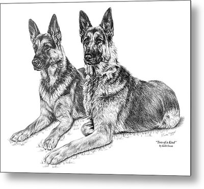 Two Of A Kind - German Shepherd Dogs Print Metal Print