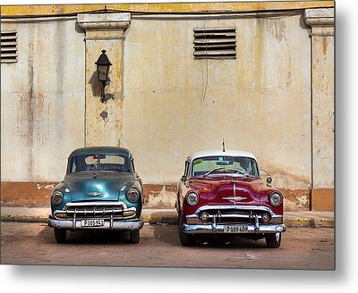 Two Old Vintage Chevys Havana Cuba Metal Print by Charles Harden