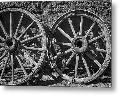 Two Old Wagon Wheels Metal Print
