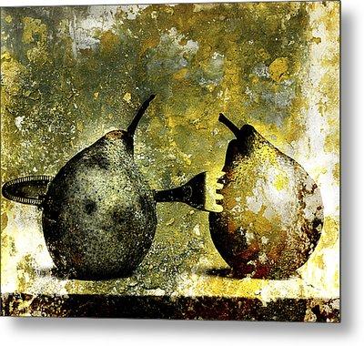 Two Pears Pierced By A Fork. Metal Print by Bernard Jaubert