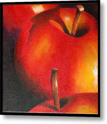 Two Red Apple Metal Print by Pepe Romero