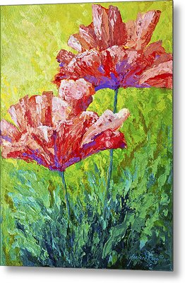 Two Red Poppies Metal Print by Marion Rose