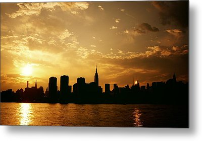 Two Suns - The New York City Skyline In Silhouette At Sunset Metal Print by Vivienne Gucwa