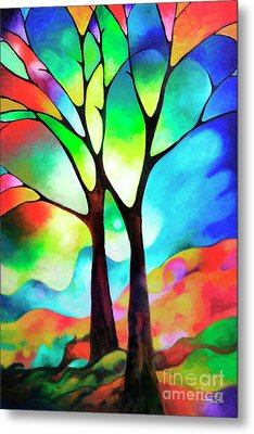 Two Trees Metal Print by Sally Trace