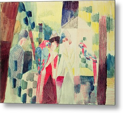 Two Women And A Man With Parrots Metal Print by August Macke
