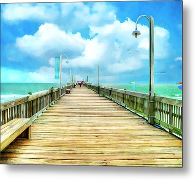 Tybee Island Pier In Watercolor Metal Print by Tammy Wetzel