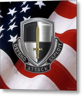 U. S.  Army Cyber Corps - Regimental Insignia Over American Flag Metal Print by Serge Averbukh