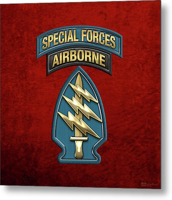 U. S.  Army Special Forces  -  Green Berets S S I Over Red Velvet Metal Print by Serge Averbukh
