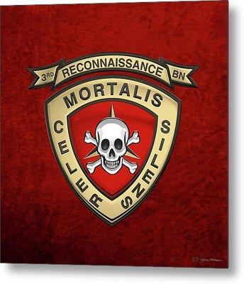 U S M C  3rd Reconnaissance Battalion -  3rd Recon Bn Insignia Over Red Velvet Metal Print