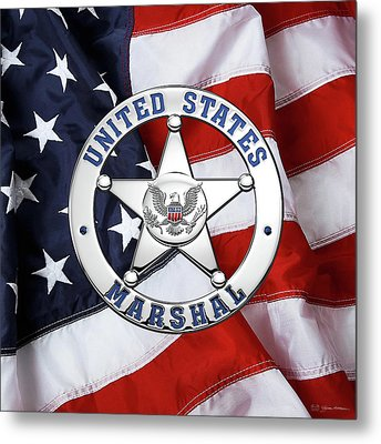 U. S. Marshals Service  -  U S M S  Badge Over American Flag Metal Print