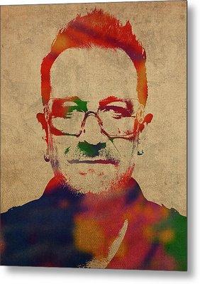 U2 Bono Watercolor Portrait Metal Print