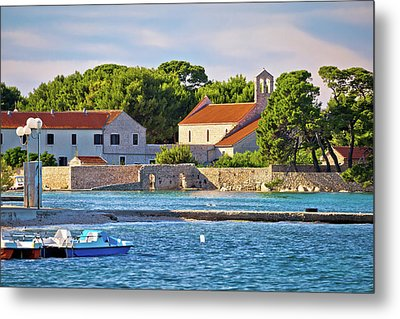Ugljan Island Village Old Church And Beach View Metal Print