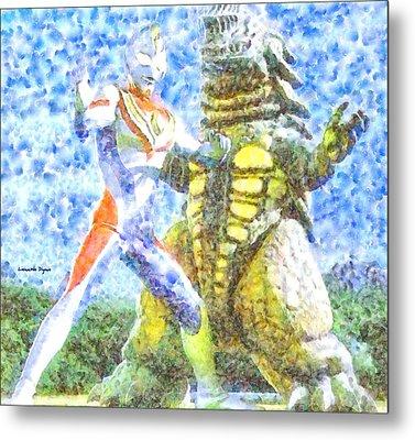 Ultraman Fighting - Da Metal Print