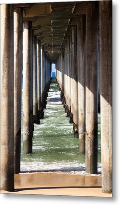 Under The Pier In Orange County California Metal Print by Paul Velgos