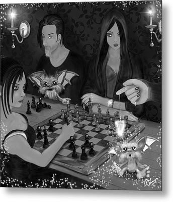 Unexpected Company - Black And White Fantasy Art Metal Print by Raphael Lopez