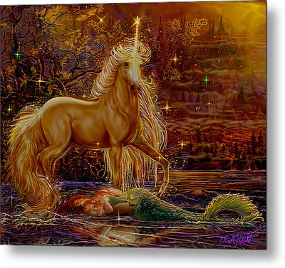 Metal Print featuring the painting Unicorn And The Mermaid Mother by Steve Roberts