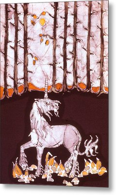 Unicorn Below Trees In Autumn Metal Print by Carol  Law Conklin