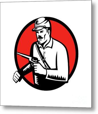 Union Soldier With Pistol Circle Woodcut Metal Print by Aloysius Patrimonio
