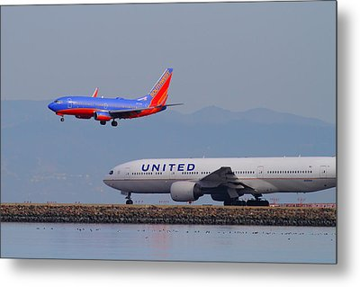 United Airlines And Southwest Airlines Jet Airplane At San Francisco International Airport Sfo.12087 Metal Print by Wingsdomain Art and Photography