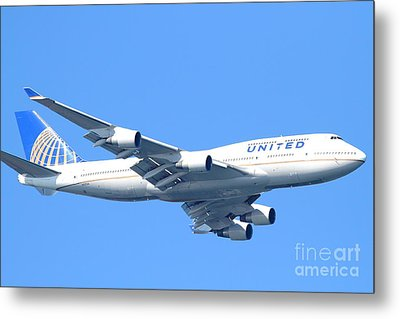 United Airlines Boeing 747 . 7d7852 Metal Print by Wingsdomain Art and Photography