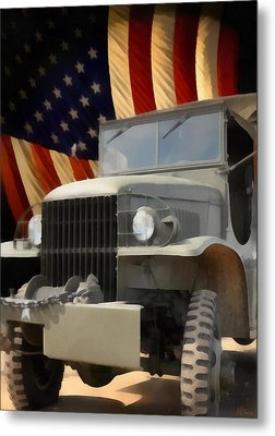 United States Army Truck And American Flag  Metal Print by Anne Kitzman