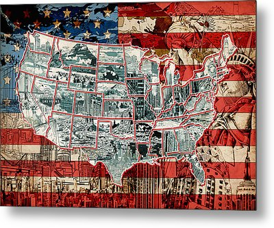 United States Drawing Collage Map 6 Metal Print