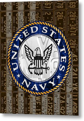 United States Navy Logo Recycled Vintage License Plate Art Metal Print by Design Turnpike