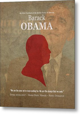 United States Of America President Barack Obama Facts Portrait And Quote Poster Series Number 44 Metal Print by Design Turnpike
