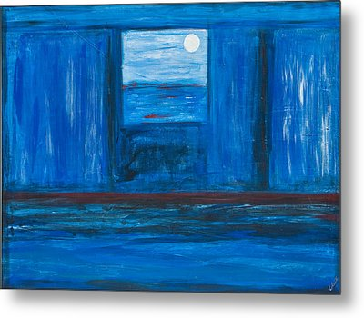 Untitled In Blue Metal Print by Celesty  Claudio