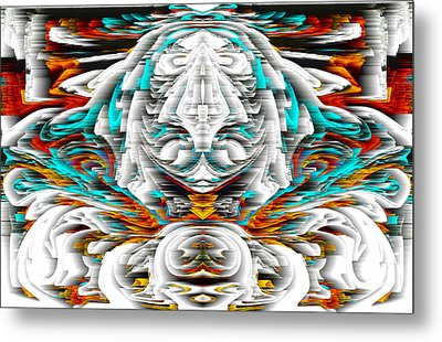 Metal Print featuring the digital art 992.042212mirrorornategoldvert-2-c by Kris Haas