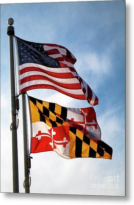 Us And Maryland Flags Metal Print by William Kuta