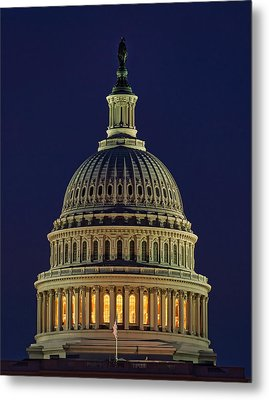 U.s. Capitol At Night Metal Print
