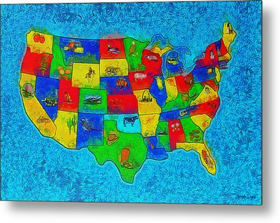Us Map With Theme  - Special Finishing -  - Pa Metal Print by Leonardo Digenio