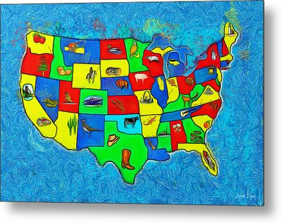 Us Map With Theme  - Van Gogh Style -  - Pa Metal Print
