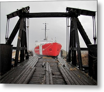 Uscgc Mackinaw Framed By Railroad Elevator Metal Print by Keith Stokes