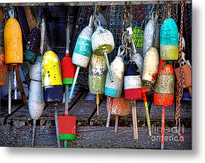 Used Lobster Trap Buoys Metal Print by Olivier Le Queinec