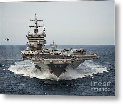 Uss Enterprise Transits The Atlantic Metal Print by Stocktrek Images