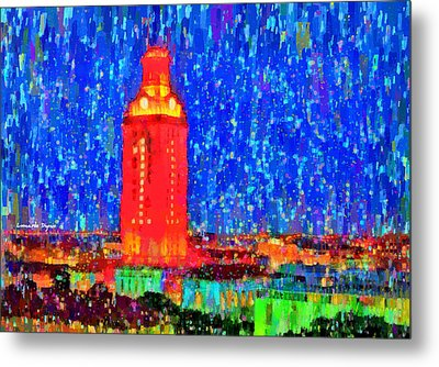 Ut Austin Tower - Da Metal Print