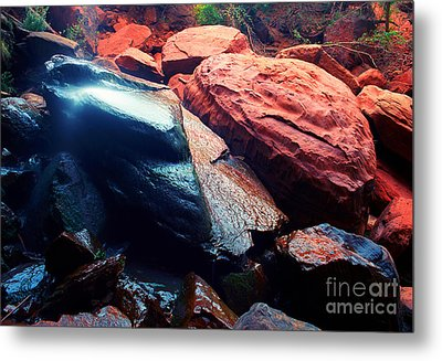 Utah - Emerald Pool Boulders Metal Print by Terry Elniski