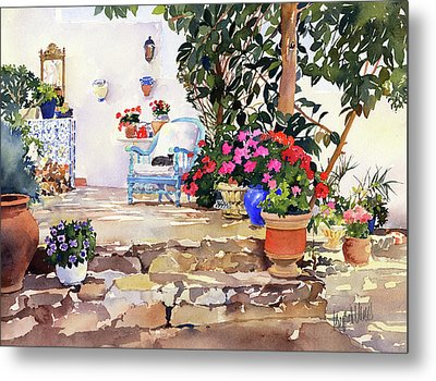 Utes Garden With Flowers And Pots Metal Print