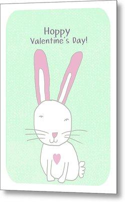 Valentine Bunny- Art By Linda Woods Metal Print