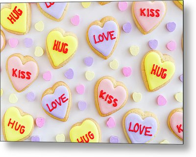 Metal Print featuring the photograph Valentine Heart Cookies by Teri Virbickis