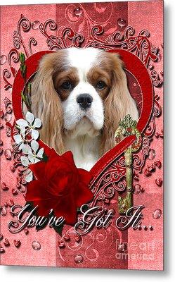 Valentines - Key To My Heart Cavalier King Charles Spaniel Metal Print by Renae Laughner