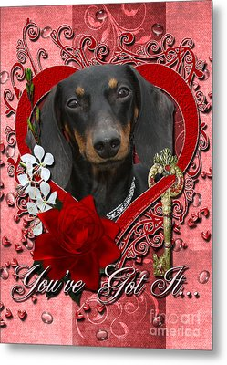 Valentines - Key To My Heart Dachshund Metal Print
