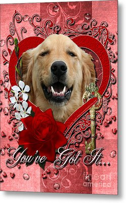 Valentines - Key To My Heart Golden Retriever Metal Print by Renae Laughner