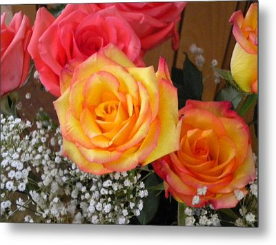 Metal Print featuring the painting Valentine's Day Roses 2 by Renate Nadi Wesley