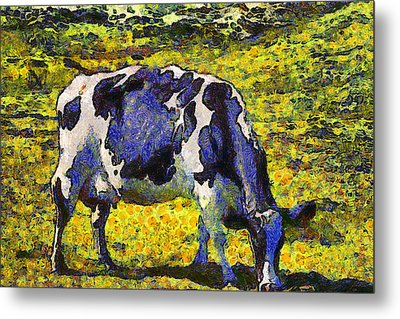 Van Gogh.s Starry Blue Cow . 7d16140 Metal Print by Wingsdomain Art and Photography