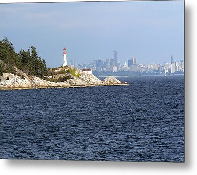 Vancouver Skyline With Lighthouse Metal Print