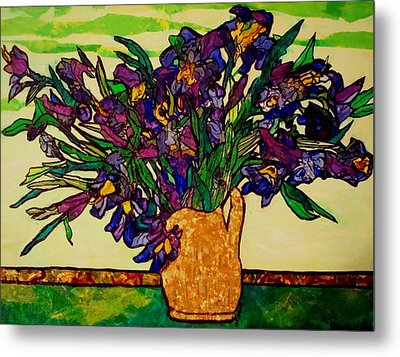 Metal Print featuring the painting Vangogh Iris Montage by Laura  Grisham